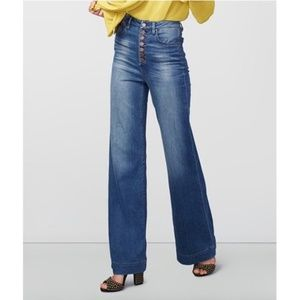 NWT Rachel Roy Button Up Flare Jeans High Rise 25
